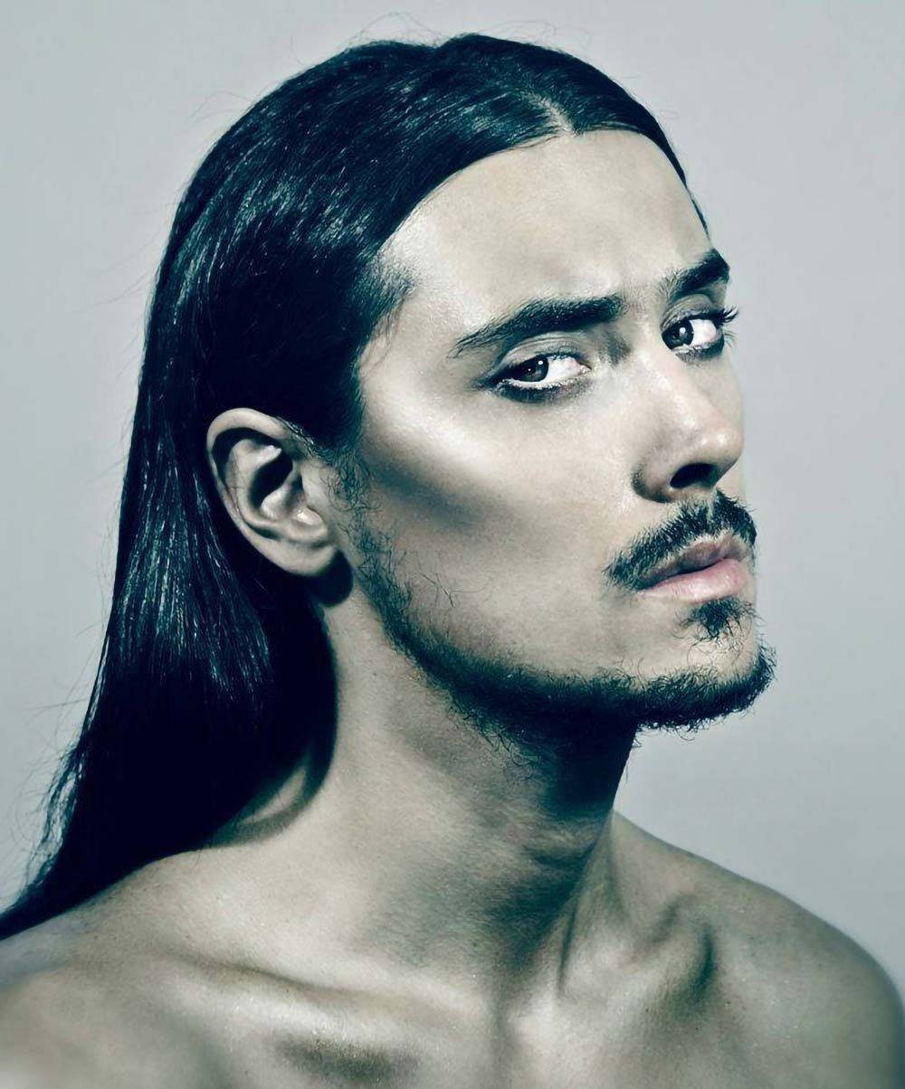 LONG HAIR MALE MODEL